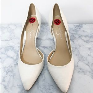 Jessica Simpson - White pointed toe heels